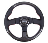 NRG 315mm Carbon Fiber Black Leather Red Stitch Steering Wheel