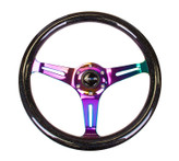 NRG Classic Black Sparkle Wood Grain Wheel 350mm Neochrome 3 spoke center