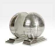 Globe Bookends - Silver