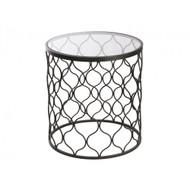 Lattice Round Side Table - Black