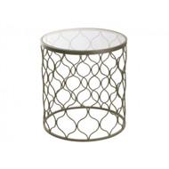 Lattice Round Side Table - Silver