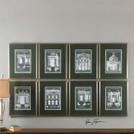 Architecturals Set of 8 a Prints Framed by Uttermost