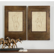 Bronze Figures Set of 2 a Prints Framed by Uttermost