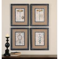 Antique Corkscrews Set of 4 a Prints Framed by Uttermost