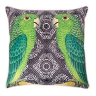 Parrot Cushion Cover - Black/Green