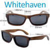 Whitehaven Rectangular Brown Bamboo Wood Sunglasses Dimensions Size
