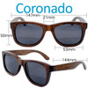 Coronado Wayfarer Brown Bamboo Wood Sunglasses Dimensions Size
