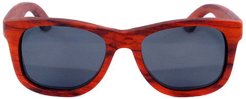 Coronado Wayfarer Style Polarized Red Rosewood Frame Sunglasses Straight