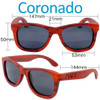 Coronado Wayfarer Red Rosewood Wood Sunglasses Dimensions Size