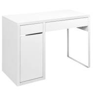Metal Desk With Storage Cabinets - White