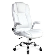 PU Leather Racing Style Office Chair - White