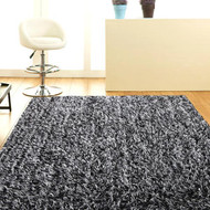 Designer Shaggy Floor Rug Black and White 200x140cm