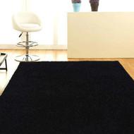 Designer Shaggy Floor Rug Black 200x140cm