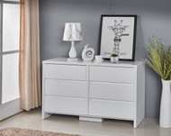 High Gloss White 6 Drawer Tallboy Cabinet 126x75x40cm