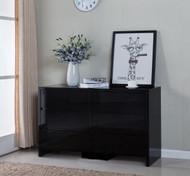 High Gloss Black 6 Drawer Tallboy Cabinet 126x75x40cm
