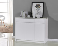High Gloss White Wooden Storage Shoe Cabinet Marble Like Top Soft Close 4042 Ella