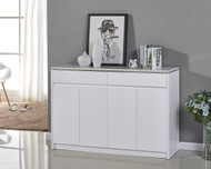 1400mm High Gloss White Wooden Storage Shoe Cabinet Marble Like Top 4043 Iris