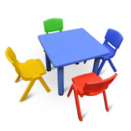Kids Children Square Activity Table with 4 Chairs Blue