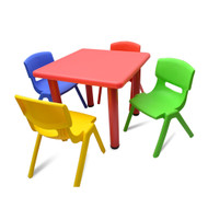 Kids Children Square Activity Table with 4 Chairs Red