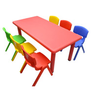 Kids Rectangle Red Activity Table with 6 Mixed Coloured Chairs Set