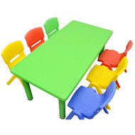 Kids Rectangle Green Activity Table with 6 Mixed Coloured Chairs Set