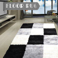 Designer Shaggy Floor Rug Black White Grey Cube 300x200cm