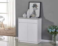 80CM Wooden Shoe Cabinet with Marble Like Top High Gloss White