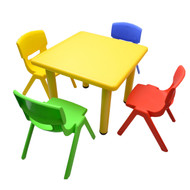 Kids Children Square Activity Table with 4 Chairs Yellow