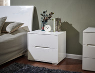 Designer High Gloss White Finish Bedside Table Nightstand Cabinet #46WH