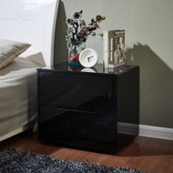 Designer High Gloss Black Finish Bedside Table Nightstand Cabinet #46BK