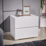 Designer High Gloss White Bedside Table Nightstand Cabinet 2 Drawer #52WH