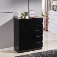 High Gloss Black Wooden Tallboy Chest 6 Drawer Cabinet Classic Look #53BK