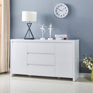 High Gloss Piano Finish White Designer Buffet Sideboard Cabinet 3 Drawer 4037WH