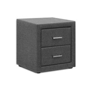 PVC Leather Bedside Table - Grey
