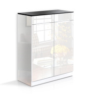 High Gloss Shoe Cabinet Rack- Black & White