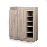 2 Doors Shoe Cabinet Storage Cupboard - Walnut