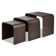 Set of 3 Wooden Coffee Table - Walnut