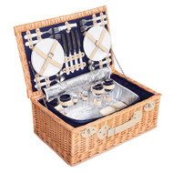 4 Person Picnic Basket with Cooler Bag - Blue