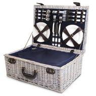 6-Person Wicker Picnic Basket Blue