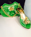 Diamond Italian Shoes & Bag - Lemon Green