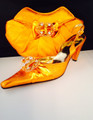 Diamond Italian Shoes & Bag - Orange 2