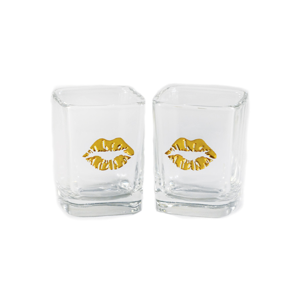 Painted Gold Lips Square Shot Glass Set
