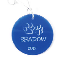 Personalized Blue Circle Paw Print Ornament