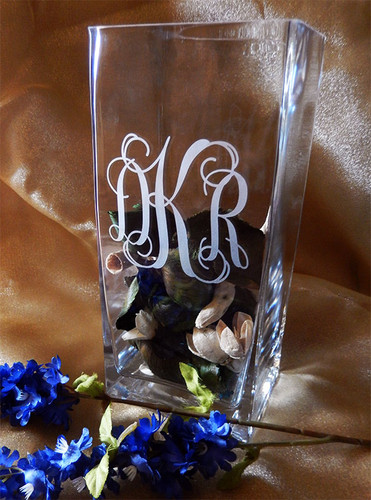 "Personalized 9"" Square Vase"