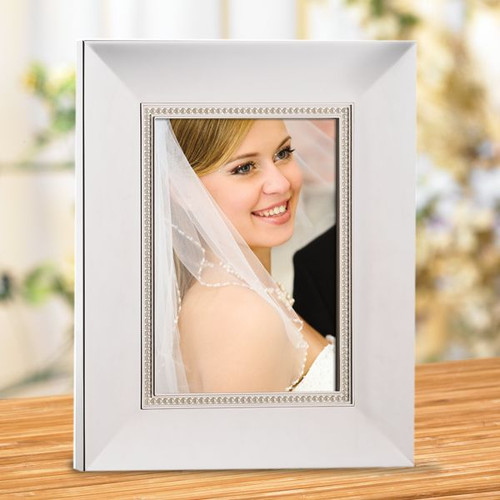 "Jubilee Pearl Silverplate 5""x7"" Wedding Frame"