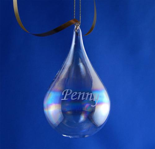 Personalized Blown Teardrop Christmas Tree Ornament
