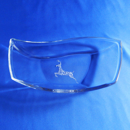 Engraved Large Crystal Snack Bowl with Reindeer