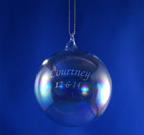 Personalized 80mm Round Glass Blown Ornament