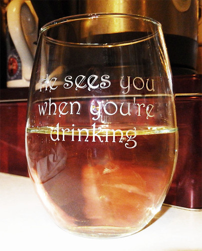 """He Sees You When You're Drinking"" Novelty Stemless Wine Glass"