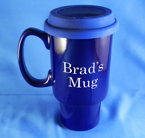 Large Monogrammed Navy Blue Gofar Travel Mug